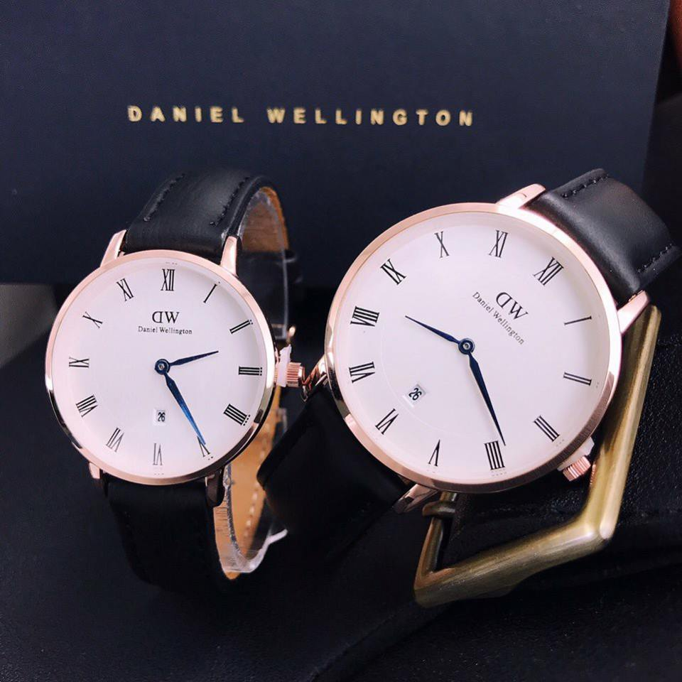 Đồng hồ cặp DW dây da cao cấp