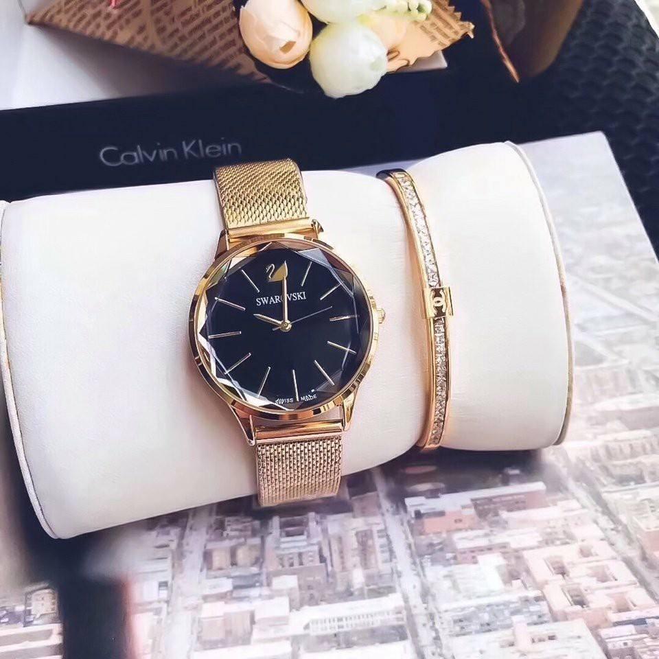Đồng hồ nữ mặt pha lê dây lưới