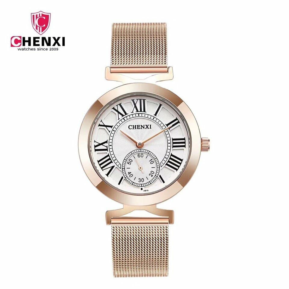 đồng hồ nữ Chenxi dây lưới chính hãng