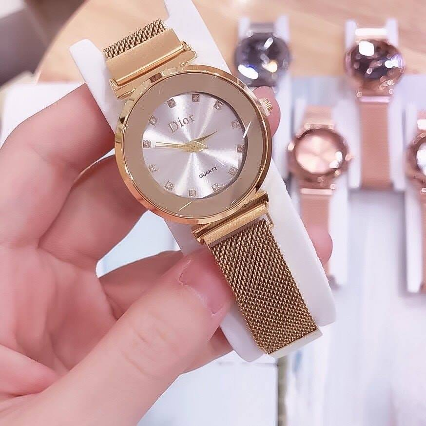 Đồng Hồ Dior Nữ Chính Hãng Dây Nam Châm Mặt Tròn Trơn Đính Kim Cương