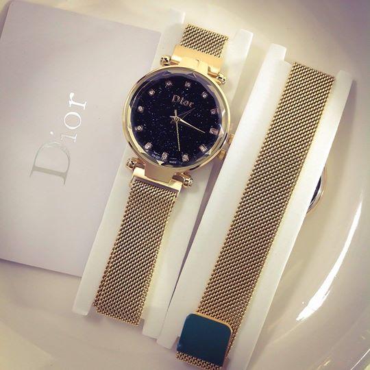 Đồng Hồ Dior Nữ Dây Nam Châm Mặt Tròn Đính Kim Cương
