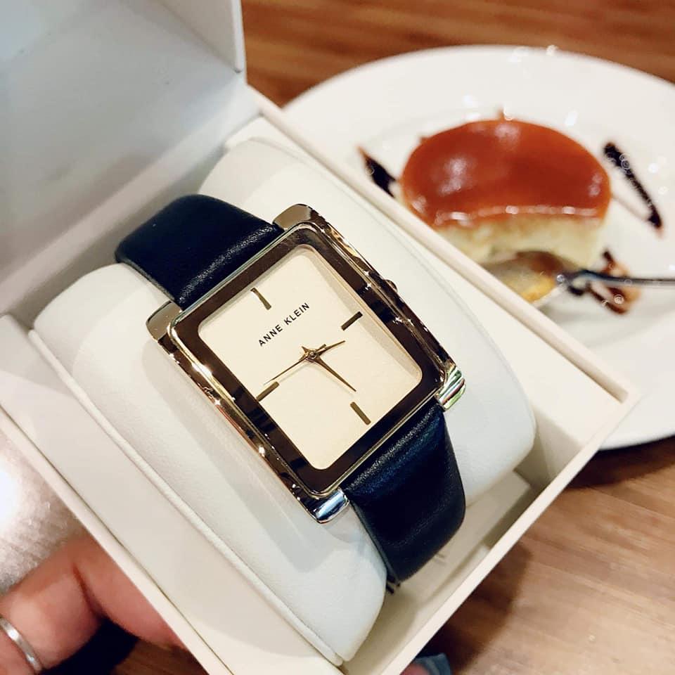 đồng hồ anne klein nữ dây da mặt vuông