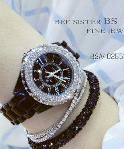 Đồng Hồ Bee Sister BSA4028536 NữDây Đá Viền Hột Kim Cương Nhân Tạo Cao Cấp Sang Trọng