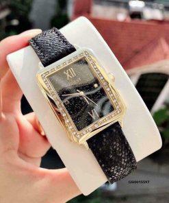 Đồng hồ Guess nữ Chi pu mặt vuông dây da cao cấp