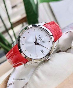 đồng hồ tissot 1853 nữ dây da màu đỏ chính hãng