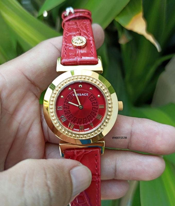 Đồng hồ Versace nữ siêu cấp dây da màu đỏ