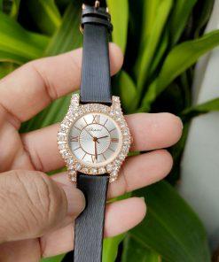 Đồng hồ chopard nữ dây da viền đính đá