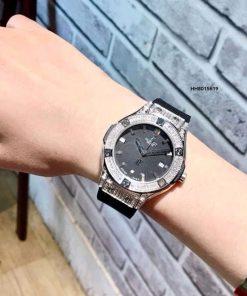 Đồng hồ Hublot geneve cao cấp Nữ full hột Dây Đen viền bạc