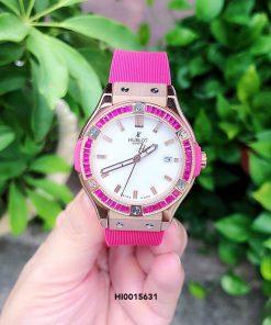 Đồng Hồ Hublot Geneve Nữ cao cấp màu hồng cực đẹp
