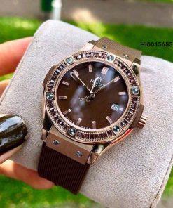Đồng hồ nữ Hublot Geneve siêu cấp full hột dây nâu