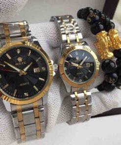 Đồng Hồ Rolex Cặp Nam/Nữ dây kim loại bạc mặt đen đính kim cương