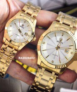 Đồng Hồ Rolex Cặp Nam/Nữ dây kim loại mặt trắng