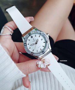 Đồng hồ Hublot Nữ đính đá full viền dây cao su màu trắng