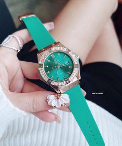 Đồng hồ Hublot Nữ đính đá full viền màu xanh