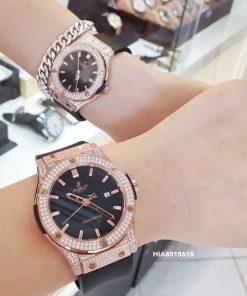 Đồng hồ Cặp Hublot Genever Chronograph 582888 Siêu Cấp đính đá full viền vàng
