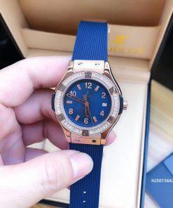 Đồng hồ Hublot Nữ Geneve Chronograph 582888 Đính đá dây xanh cao cấp