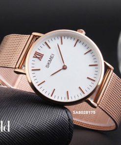 Đồng hồ cặp Skmei dây lưới kim loại cao cấp
