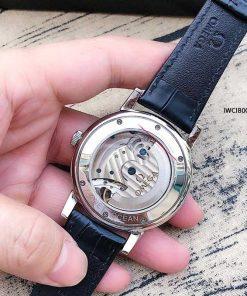 Đồng Hồ IWC Automatic Nam dây da cao cấp viền bạc