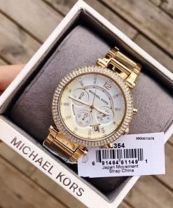Đồng Hồ Michael Kors MK535 Nữ dây kim loại viền full đá cao cấp