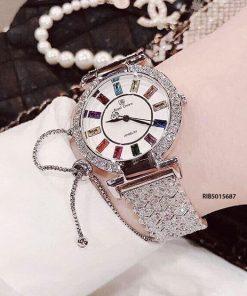 Đồng hồ Royal Crown 4604 nữ dây và viền đính đá full cực đẹp