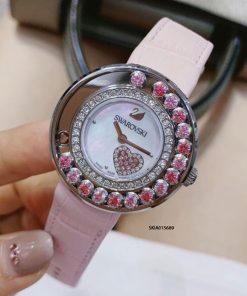 Đồng hồ Swarovski nữ viền đính đá Bezel cao cấp dây hồng