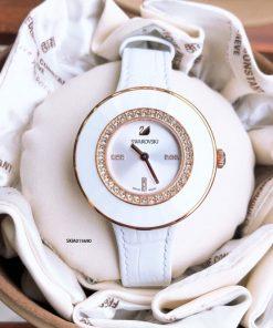Đồng hồ Swarovski nữ viền đính đá Bezel cao cấp dây màu trắng
