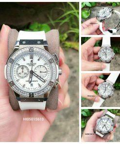 Đồng hồ Hublot Geneve Chronograph 582888 Unisex Nam Nữ dây trắng viền bạc siêu cấp