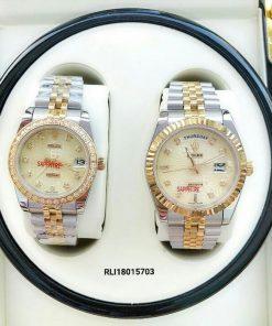 Đồng hồ rolex cặp nam nữ dây kim loại giá rẻ