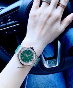 Đồng hồ Hublot nữ geneve 582888 dây xanh viền đính đá