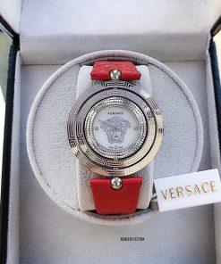 Đồng hồ Versace dây da đỏ cao cấp mặt xoay