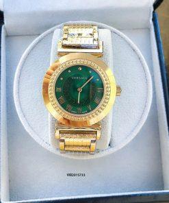 Đồng hồ Versace Vanitas nữ dây kim loại vàng mặt xanh cao cấp