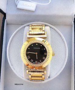 Đồng hồ Versace Vanitas Nữ dây kim loại vàng mặt đen cao cấp