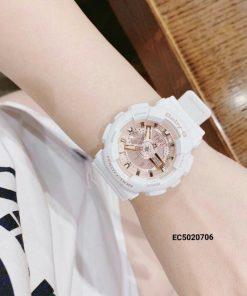 Đồng Hồ Nữ G-shock Baby G BA-110RG-7A màu trắng mix cực xinh dáng thể thao
