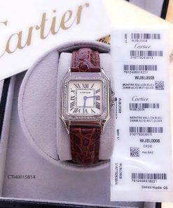 đồng hồ cartier nữ đẹp dây da mặt vuông giá rẻ tại tphcm