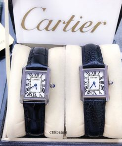 Đồng Hồ Cartier nữ dây da vân cá sấu đen cao cấp giá rẻ