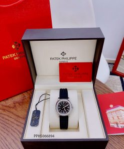 Đồng hồ Patek Philippe Nautilus Lady nữ dây cao su đen cao cấp fullbox