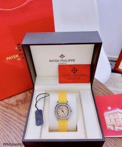Đồng hồ Patek Philippe Nautilus Lady nữ dây cao su vàng cao cấp giá rẻ fullbox