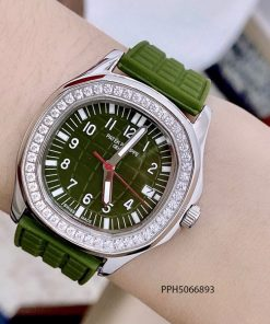 Đồng hồ Patek Philippe Nautilus Lady nữ dây cao su xanh riêu cao cấp giá rẻ fullbox