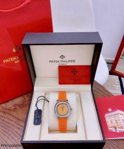 Đồng hồ Patek Philippe Nautilus Lady nữ dây cao su cam cao cấp giá rẻ fullbox