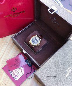 Đồng hồ nam Patek Philippe máy cơ thụy sĩ trong suốt viền vàng cao cấp