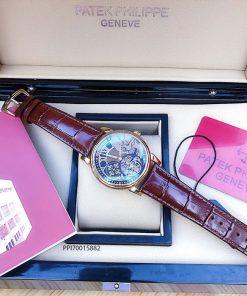 Đồng hồ nam Patek Philippe máy cơ Thụy Sĩ dây đà điểu màu nâu siêu cấp