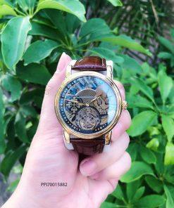 Đồng hồ nam Patek Philippe máy cơ Thụy Sĩ dây đà điểu màu nâu