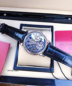 Đồng hồ nam Patek Philippe máy cơ Thụy Sĩ dây đà điểu màu đen cao cấp