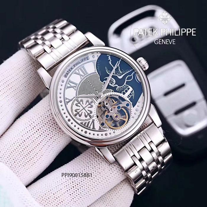 dây đồng hồ nam Patek Philippe máy cơ lộ viền bạc cao cấp giá rẻ