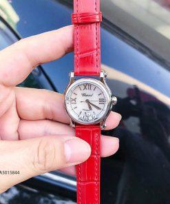 Đồng hồ Chopard nữ Happy Sport replica 1:1 dây da đỏ