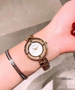 đồng hồ gucci nữ dây kim loại mặt đá xoay giá rẻ