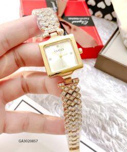 Đồng hồ nữ Gucci mặt vuông dây kim loại màu vànggiá rẻ
