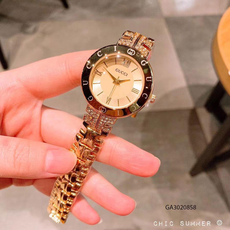 Đồng hồ nữ Gucci viền chữ đính đá giá rẻ
