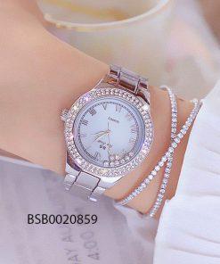 Đồng hồ nữ Bee Sister mặt đá xoay màu bạc cao cấp giá rẻ