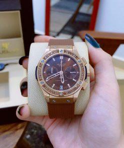 đồng hồ đeo tay hublot nữ big bang cao cấp dây cao su nâu